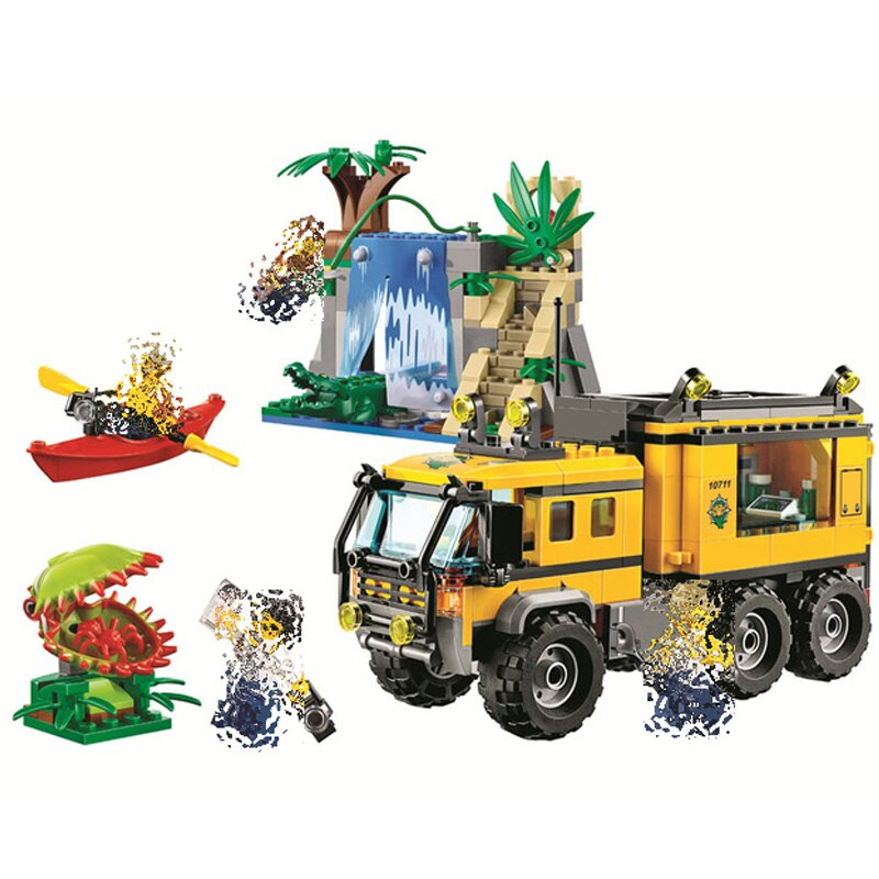Bela 10711 raiders da arca perdida selvas aventura móvel laboratório blocos de construção brinquedos educativos para crianças presentes compatíveis com brinquedos