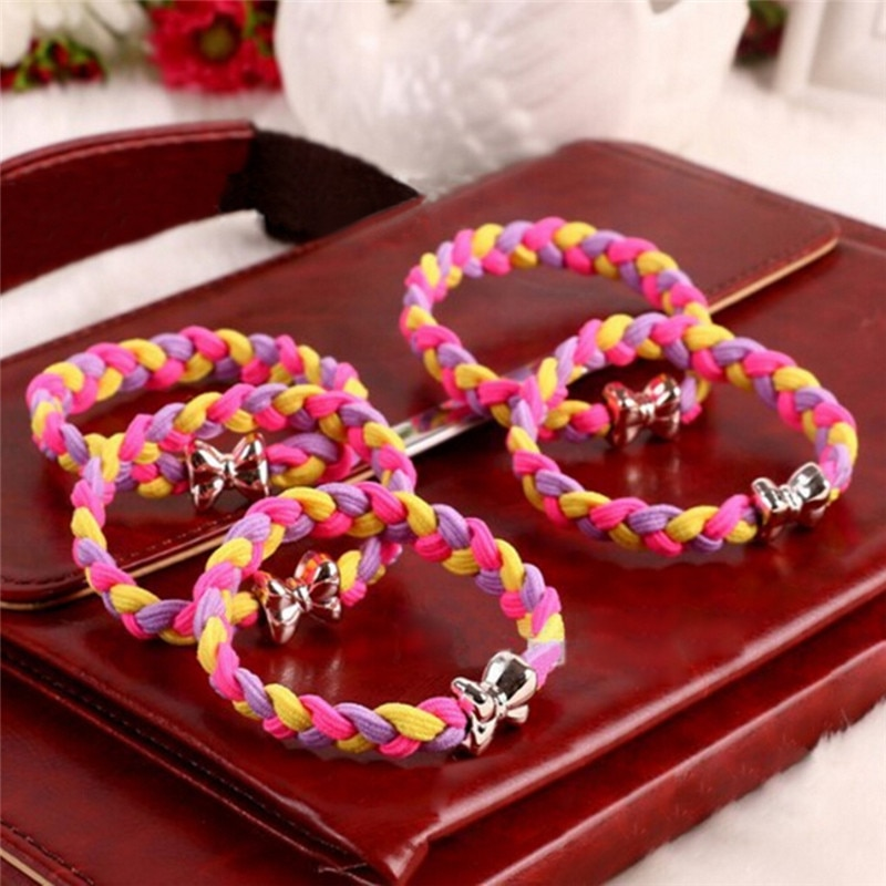 10Pcs/Lot Ladies Braided Scrunchie Hair Rope Rubber Band Women Ultra Elastic Headband Hairband Girls