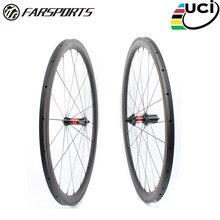 Ver sport FSC38-TM-23 DT240 Chinese OEM fiets wiel carbon, 38mm profiel 23mm breed tubular road fiets wielset