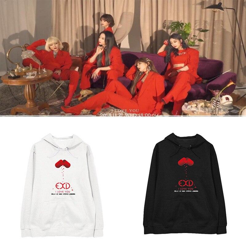 EXID Album I LOVE YOU Sudadera con capucha de manga larga sudaderas con capucha hombres y mujeres Hip hop Hoodie sudadera coreana streetwear