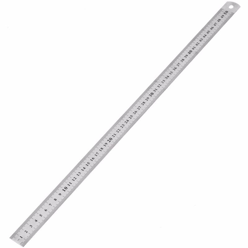 1Pcs 15cm/20cm/30cm/50cm Double Side Scale Stainless Steel Straight Ruler Measuring Tool School Office Supplies 0.5mm/0.7mm