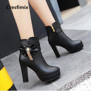 Cresfimix women sexy party night club 10cm high heel boots lady comfortable autumn boots fashion winter warm black boots a2304