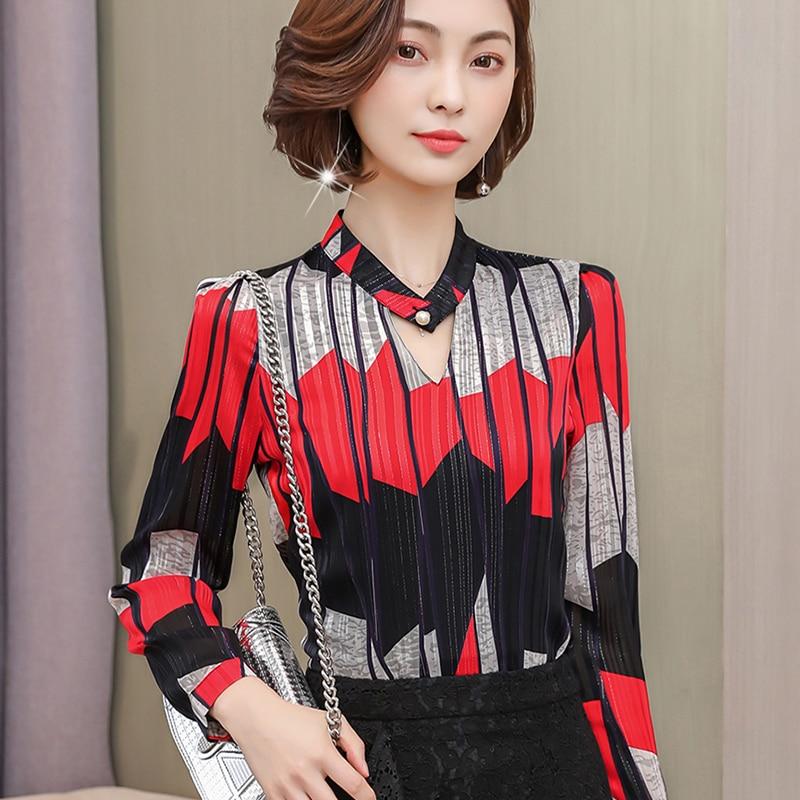 Women Blouses Long Sleeve striped  Shirts Turn Down Collar Shirt Casual Tunic Feminine Irregular Blouses flower print Tops 891i5