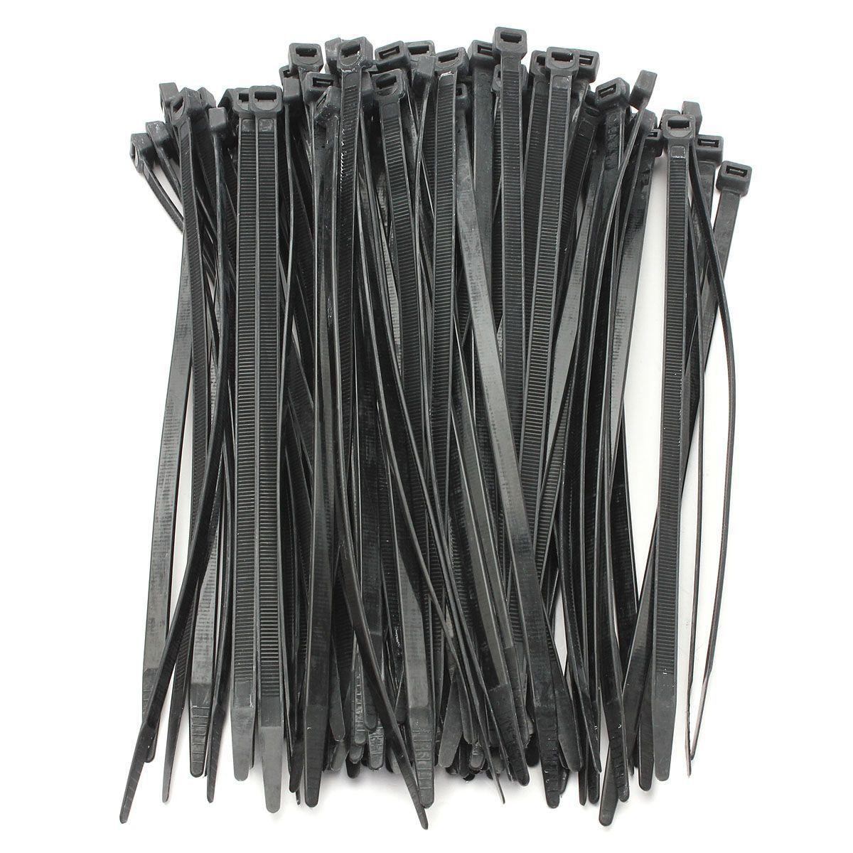 100 laços de cabo fortes dos pces/laço envolve laços zip cor: preto tamanho: 5*200mm