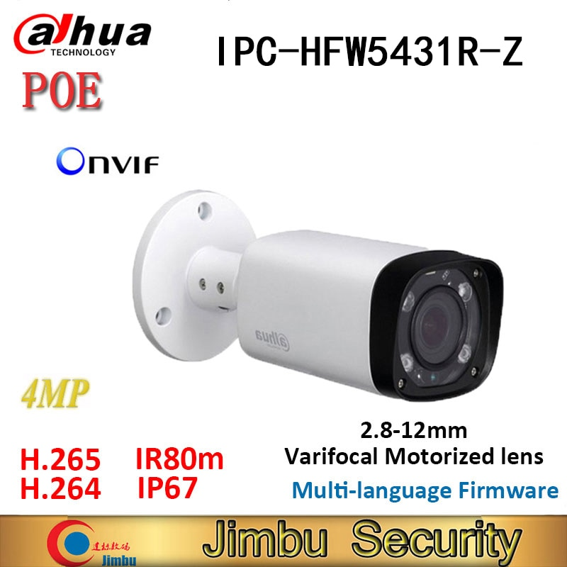 Dahua ip Cámara POE 4MP H.265 IPC-HFW5431R-Z varifocal lente motorizado 2,8mm ~ 12mm WDR IR-80M de la Cámara de bala Cámara onvif
