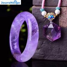 Ensembles de bijoux en cristal naturel violet lavande véritable collier pendentif étoile hexagonale avec bracelet en cristal beauté pour les femmes bijoux