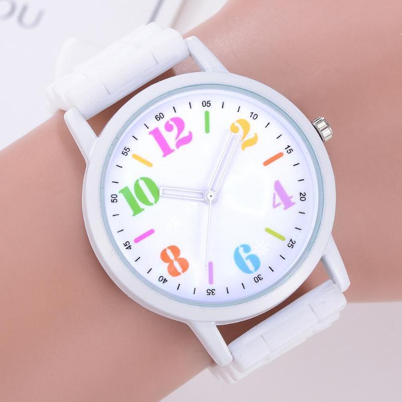 Reloj de pulsera de silicona Unisex de moda para estudiantes reloj de pulsera de cuarzo analógico para niños y niñas reloj de pulsera analógico de esfera redonda Dropshipping