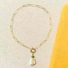 Mode-links kette bijoux edelstahl halskette böhmischen Barock perle anhänger halskette Frühling-sling verschluss MATERA HALSKETTE