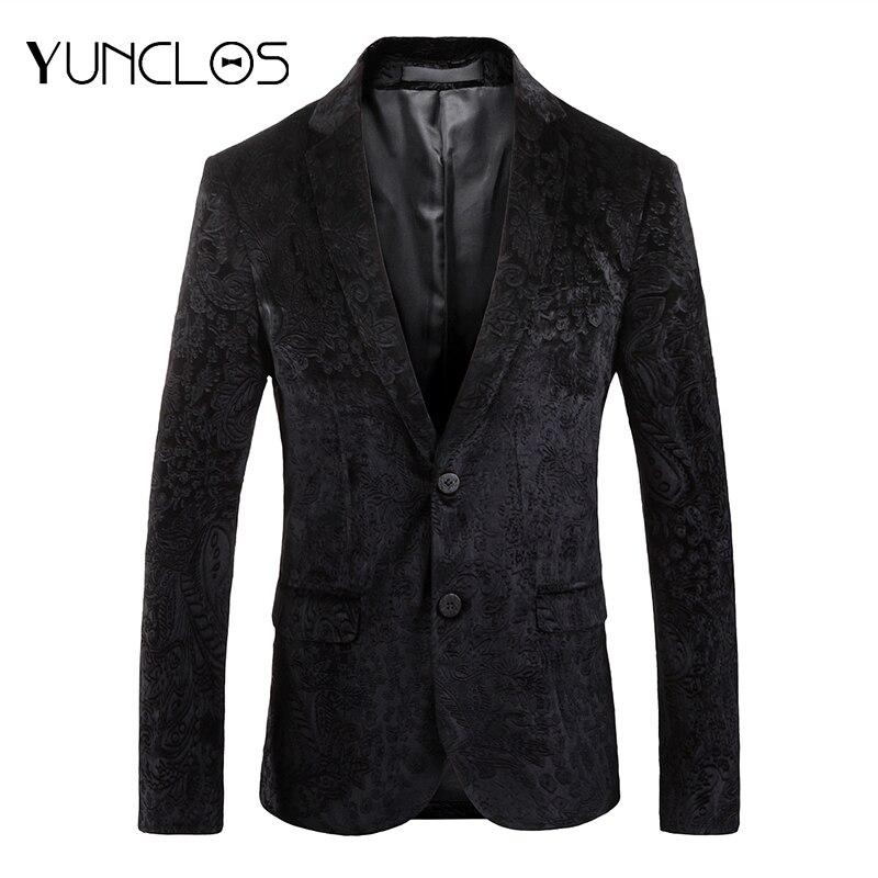 Yunclos outono blazer para homens fino ajuste masculino festa de casamento terno jaquetas casuais jacquard blazer dos homens blazer masculino