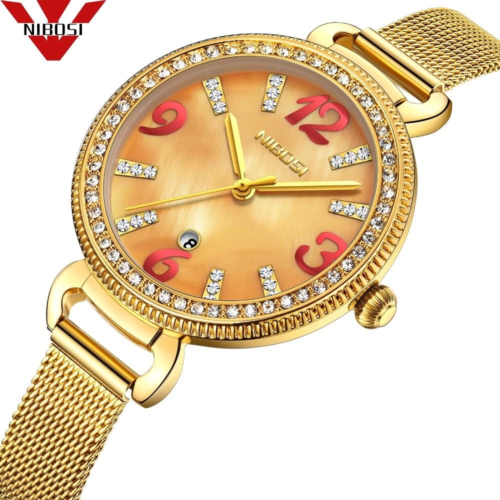 NIBOSI Frauen Kleid Uhren Luxus Marke Edelstahl Mesh Band Damen Quarzuhr Casual Armband Armbanduhr reloj mujer