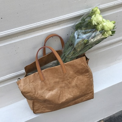 Nueva bolsa de hombro de papel Kraft transparente de madera para mujer, bolso de mano informal liso con letras, bolso de mano de piel sintética, paquete de compra de viaje