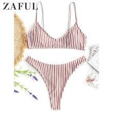 ZAFUL Bikini Women's Swimsuit High Cut Striped Thong Bikini Set Two Piece Swimwear Spaghetti Straps Padded Cami Swimming Suit