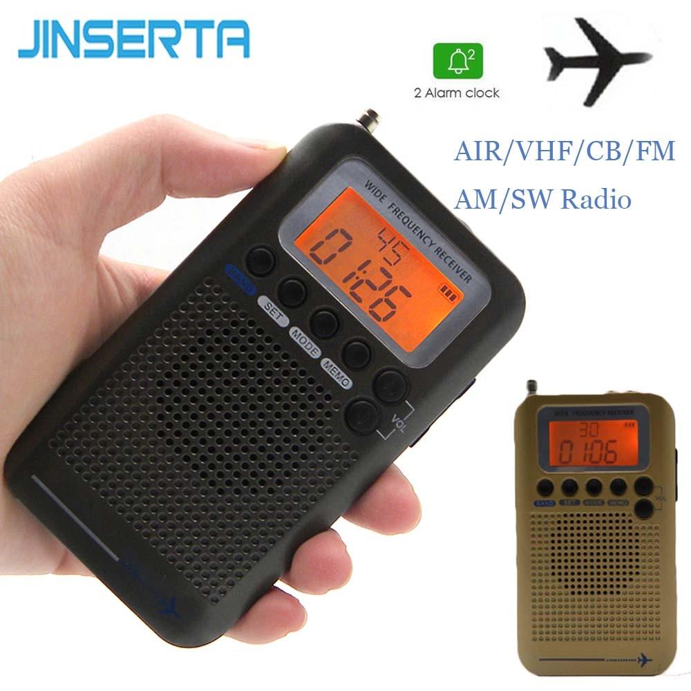 2020 avion pleine bande VHF Radio Portable FM AM SW Radio VHF CB 30-223MHZ 25-28MHZ Air 118-138MHZ avec double réveil