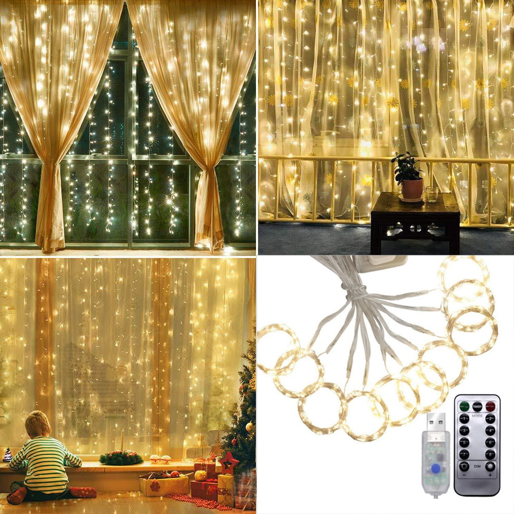 3M x 3M cable de cobre LED cadena de luces USB DC5V potencia Navidad Hada cortina luz para la decoración del hogar + Control remoto