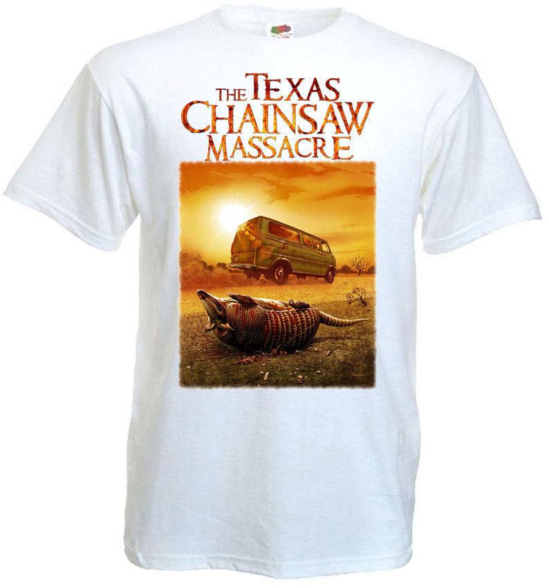 La cadena de Texas Saw masacre camiseta blanca película Poster todas las tallas S-3XL verano manga corta Camiseta de moda