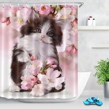 723D mignon chat chaton aquarelle douche rideaux rose fleurs imperméable Polyester salle de bain rideau tissu pour baignoire décor