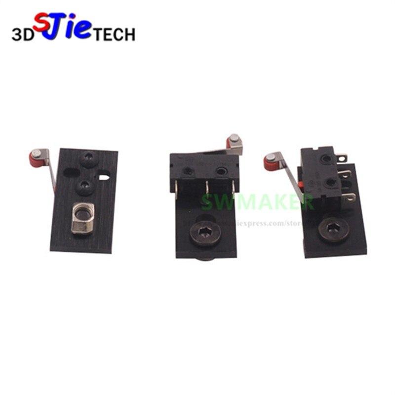Juego de Interruptor de Límite Micro de aluminio CNC openbuilds de 3 unids/lote con placa de montaje de impresora 3D