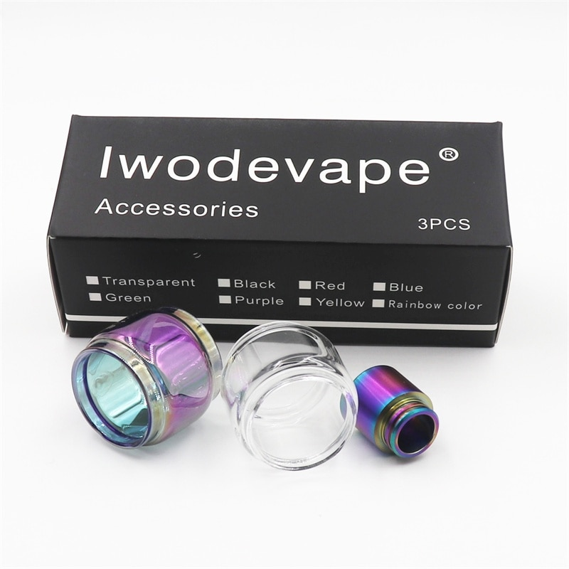 Iwodevape, 3 uds. Por juego, vidrio de repuesto extendido + vidrio de arcoíris + punta de prueba de arco iris para tfv12 prince 8ml