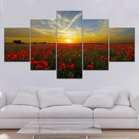 prints living room home decor wall art sunset landscape pictures 5 pieces red flowers sea scenery modular canvas painting poster