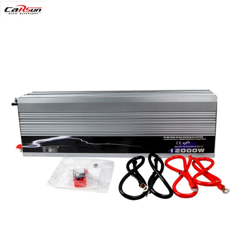 Inversor de corriente de onda sinusoidal pura para coche 12 V/24 V/48 V a 110 V/220 V 12 kW/12000 W para coche/hogar/Solar/barco