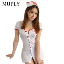 Grande taille Lingerie Sexy Sexy érotique Sexy Costumes pour femmes Sexy infirmière Costume avec tongs bouton érotique uniforme Sexy Lenceria