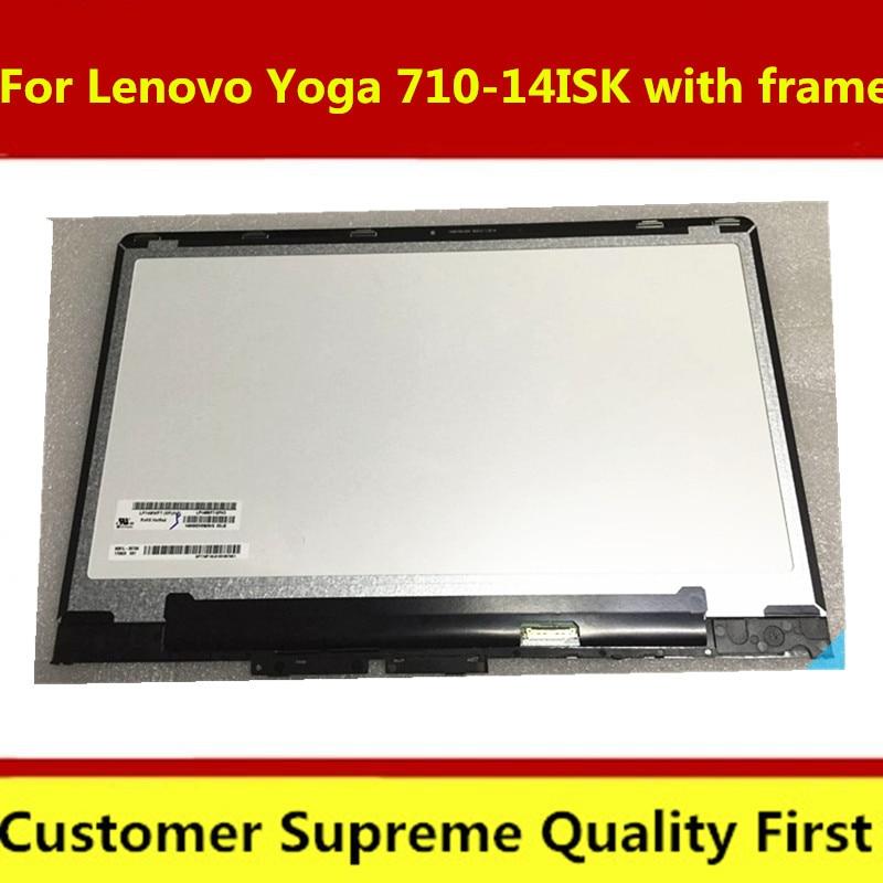 Оригинальный Новый ЖК-дисплей для ноутбука Lenovo Yoga 710-14ISK 80TY, сенсорная стеклянная панель, дигитайзер в сборе, Замена + рамка