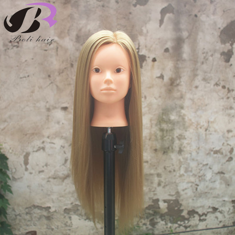 ¡Boli envío gratis! Maniquí maniquí marrón 65cm pelo sintético entrenamiento maniquí cabeza con pelo maniquí entrenamiento cabeza
