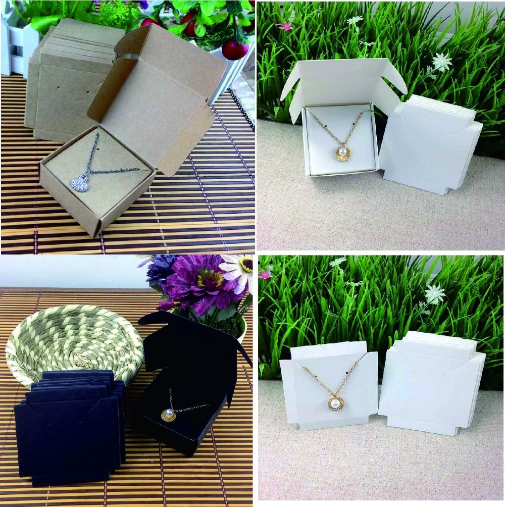 Moda brinco/colar caixa kraft caixa travesseiro para brinco/colar/anel/conjunto de jóias/presente feito à mão 50 caixa + 50 cartão interno