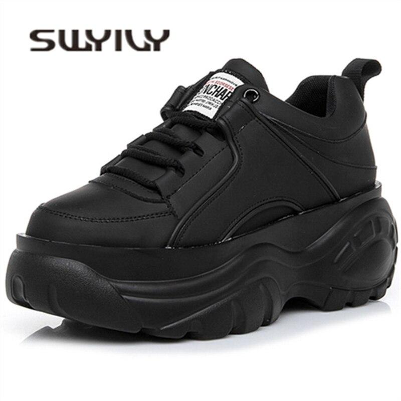Swyivy casaul sapatos mulher alta plataforma tênis novo 2020 primavera sapatos femininos preto branco tênis para mulher respirável 40