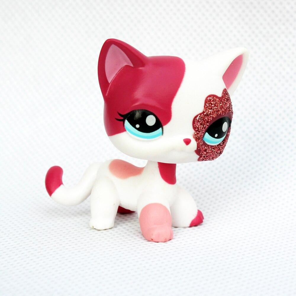 Rare original pet shop toys standing Short Hair Cat #2291 White Pink Glitter kitty free shipping