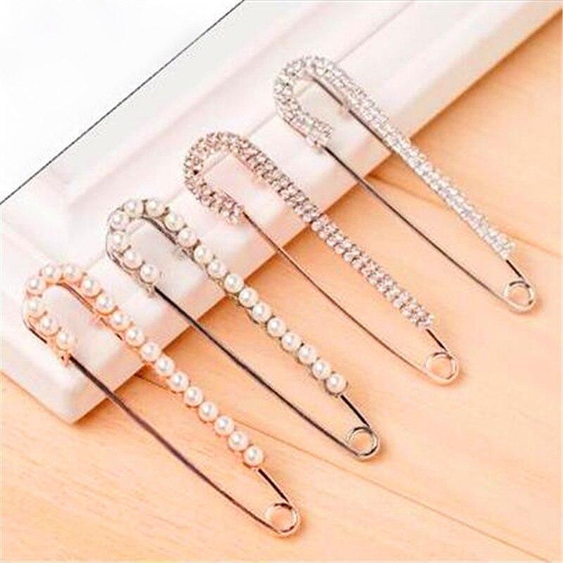 Mode schal pin glänzenden strass Hijab pins gold legierung broschen für hochzeit/party/geschenk