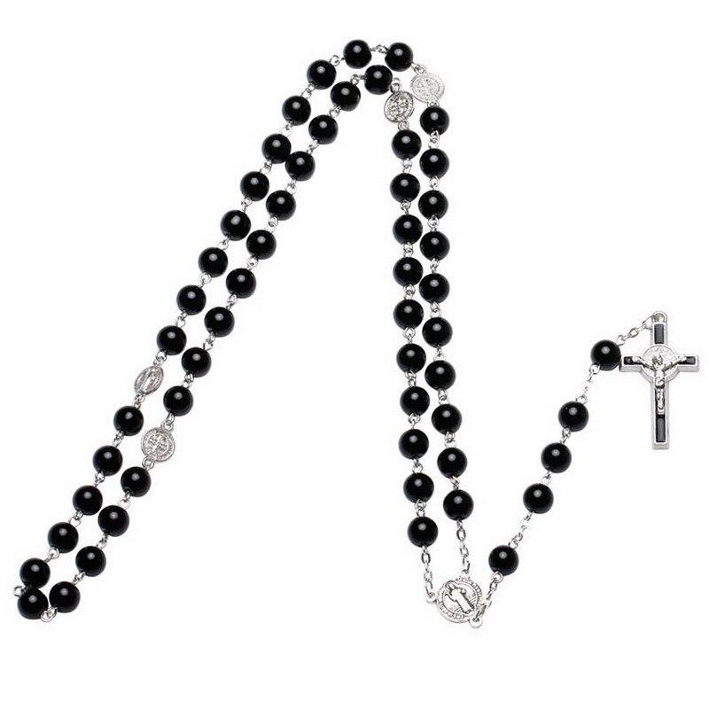 Collar de perlas de 8mm de moda, collar Rosario Católico, conectores de San Benito, pieza central y collar de dije de Cruz para hombres