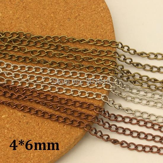 4*6mm 10 metros/lote al por mayor cadenas de collar de bronce a granel, lotes de cadena de joyería de hierro F612