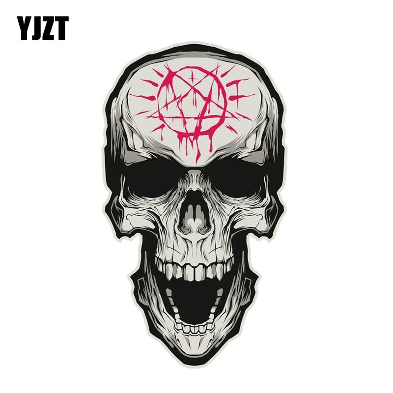 YJZT 9.2CM*16.3CM Car Styling Funny Skull Head PVC Car Sticker Accessories 6-2331