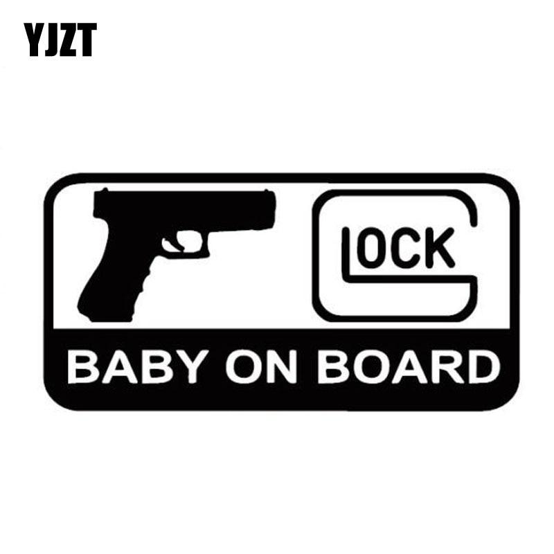 YJZT 15.7CM*7.9CM GLOCK BABY ON BOARD Character Decoration Of Automotive Vinyl Sticker Decals Black/Silver C10-00156