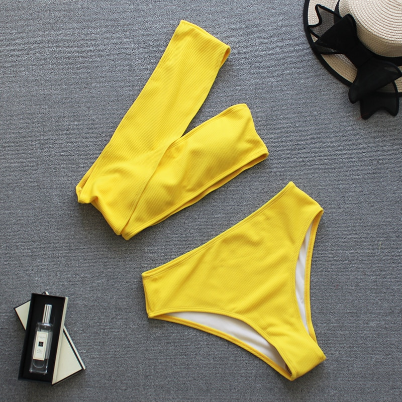 2019 Sexy Yellow High Waist Bikini Women Ribbed Swimsuit One Shoulder Swimwear Female Bikini Set Brazilian Bathing Suit Swim
