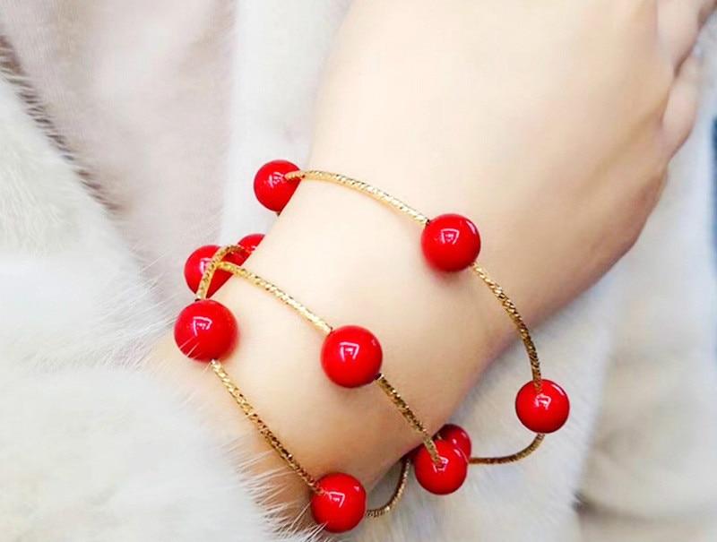 Pulseras brazaletes encanto rojo tres capas pulsera de cuentas pulsera de plata accesorios de perlas personalizadas joyería para mujeres