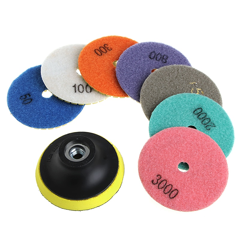 "8 adet 3 ""/4"" elmas parlatma pedleri granit mermer beton taş taşlama diskleri W329"