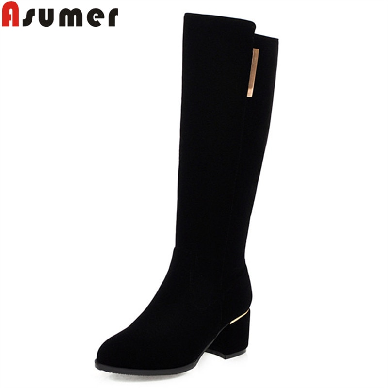 ASUMER-أحذية نسائية مستديرة ، أحذية منتصف الساق ، بسحاب ، أسود ، مقاس كبير 34-48 ، خريف وشتاء 2020