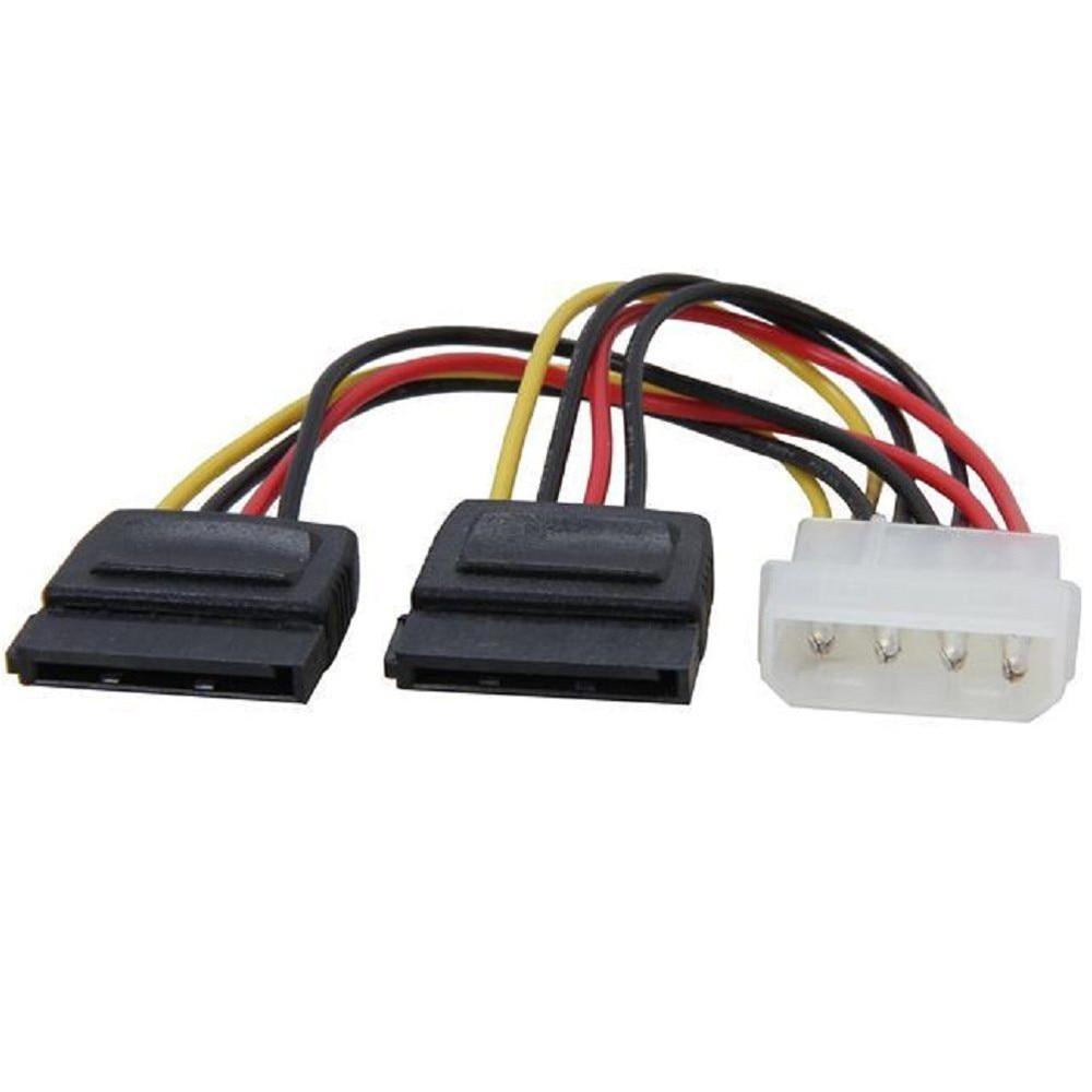 Power AdapterMolex zu SATA Power Y Splitter Adapter Kabel Blei 2 Weg 4 Pin Zu 2x15 Pin Power kabel Verbindung # W