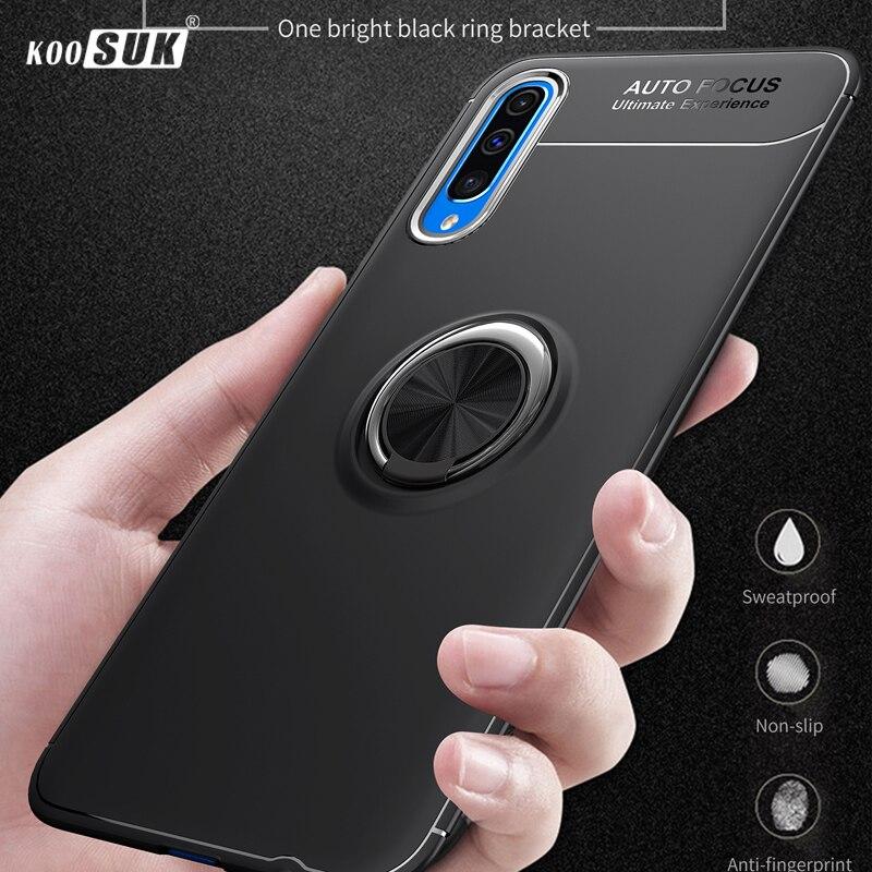 Funda de lujo para Samsung Galaxy A70, funda con anillo magnético, carcasa de silicona suave mate para Galaxy A50 A40 A40s A30 A20 A10