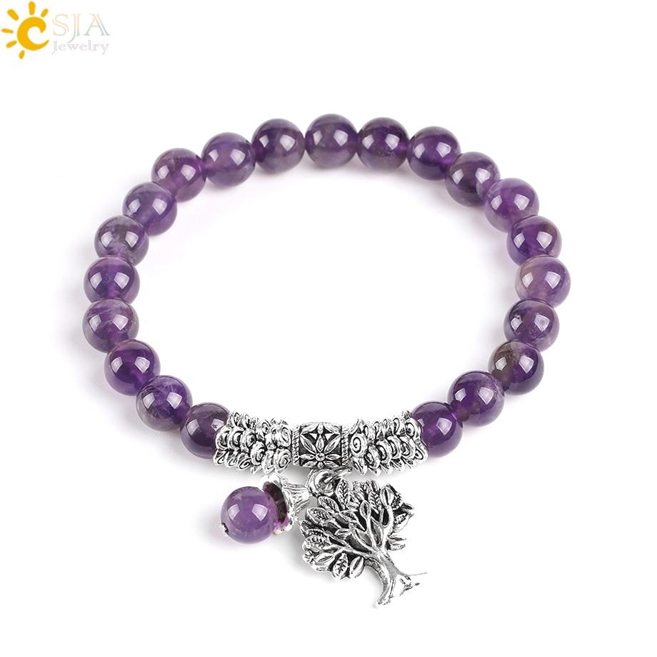 CSJA Natural Gem Stone Purple Crystal Bracelets Bangle Tree of Life Tibetan Prayer Rosary Mala Bead Bracelet for Meditation E746