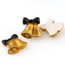Décorations artisanales en résine mélangée   Cloche de noël 26*25mm, 10 pièces, accessoires de bricolage pour jouets ménagers, dos plat, Scrapbook