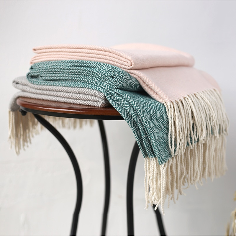 Manta de Cachemira de imitación de alta calidad, manta para sofá, chal, manta para almuerzo con aire acondicionado, manta nórdica de lana con borlas