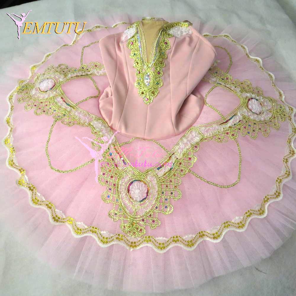 Tutús de Ballet profesional para adultos Rosa oro mujeres azúcar Plum Hada rendimiento Pancake tutú Platter competición Balet disfraces