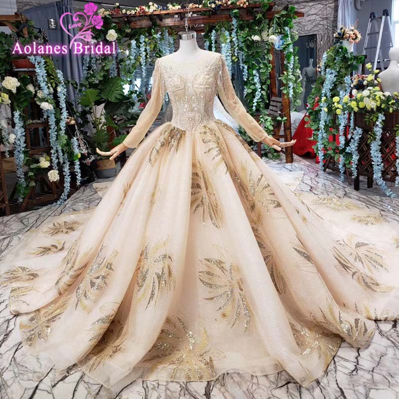 Luxury Sexy Lace Up 3d Flowers Gold Lace Long Tail Lace Bridal Ball Gown Wedding Dress Vestido De Noiva Com Renda 2019 Abiye