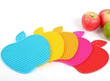 Bol de coussin en forme de Apple   En Silicone, en forme de Apple, tampons bol de vin, tasse de Placement, tapis de gobelets
