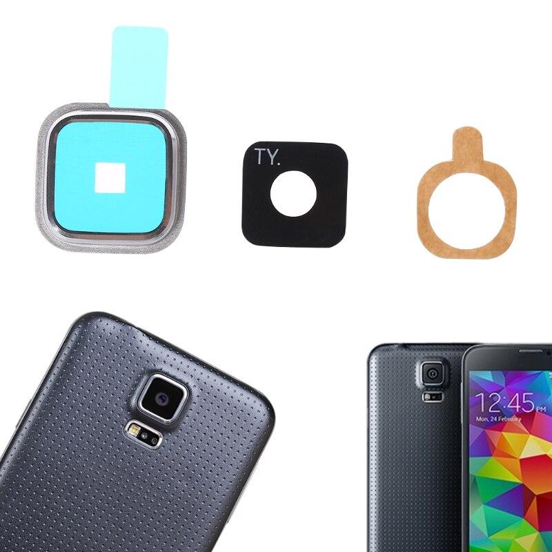 1 Juego de cubierta de cristal de la Lente de la cámara trasera + marco de Metal + pegatina para Samsung Galaxy S5