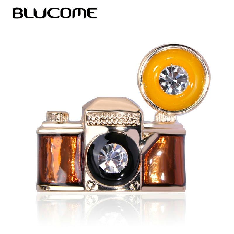 Broche Retro Blucome con forma de cámara, pines de cristal de esmalte fino para niños, mujeres, hombres, ropa, bufanda gorro y Jersey, accesorios de abrigo, insignia