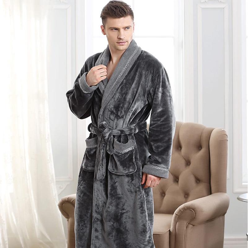 Осенне-зимний утепленный фланелевый мужской банный халат из кораллового флиса, удлиненный 5xl большого размера, пижама с длинными рукавами